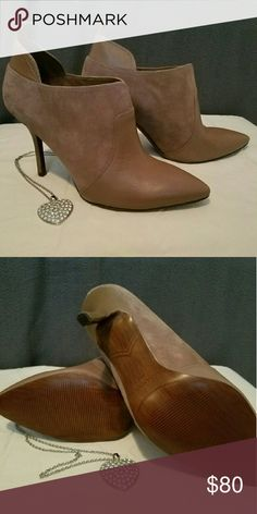 NWOT Enzo Angiolini Heeled Bootie Beautiful Tan Bootie Heels. Suede and leather. Never Worn. Enzo Angiolini Shoes Heels