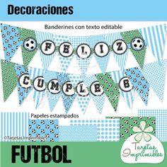 Decoraciones para fiestas de futbol para nenes color celeste