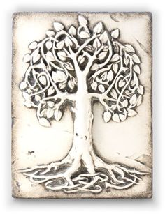 Celtic Tree of Life tile by artist Sid Dickens out of Vancouver Canada. Memory Blocks are hand crafted plaster, finished to a porcelain-like quality, cracked to create an aged look and feel.