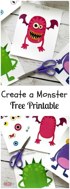 The Create a Monster Free Printable is perfect for Halloween which will be here in a couple weeks. Monsters, ghosts and goblins...oh my!