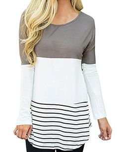 Women Round Neck Long Sleeve Tshirt Blouse Casual Tops Long Tee Shirts XL Gray -- You can find out more details at the link of the image.Note:It is affiliate link to Amazon.