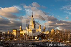 Moscow State University main building and cloudy blue sky in autumn sunset.