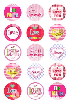 "INSTANT DOWNLOAD Happy Valentine's Day 1"" bottle cap images - 4 X 6 Digital Collage Sheet Cupcake topper Craft Supplies #3 on Etsy, $1.75"