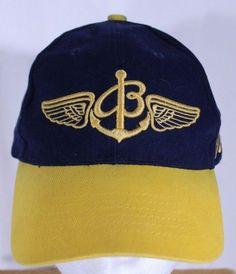 2dcc1cd1521 BREITLING Ball Cap Trucker Hat Blue Gold Snapback Script Logo  Breitling…  Script Logo