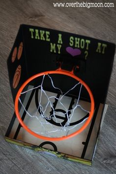 Basketball Valentine's Day Card box! Super cool DIY Valentine's Day Card Box holder or candy/treat box idea! Such a cute craft for your boys or girls classroom Valentines party at school! #plaidcrafts #modpodge #applebarrel