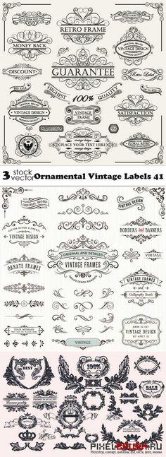 Vectors - Ornamental Vintage Labels  #vintage #labels