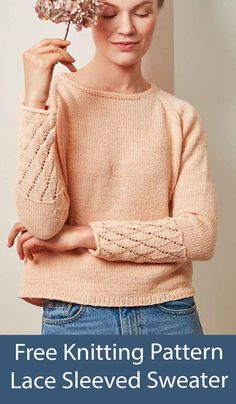 Free knitting pattern for women's pullover sweater knit top down in stockinette with a 10 row repeat lace sleeve cuffs. Sizes XS-S-M-L-XL-XXL. Women's seamless sweater Novita Wool Cotton designed by Saara Toikka for Novita. DK weight yarn. Free Knitting Patterns For Women, Lace Knitting Patterns, Aran Weight Yarn, Quick Knits, Lace Sweater, Lace Sleeves, Stockinette, Repeat, Sweaters