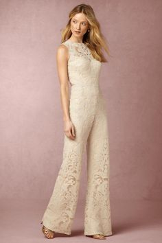 BHLDN Coral Jumpsuit in  Bride Reception & Rehearsal Dresses at BHLDN