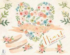Watercolor floral heart, ribbons, juliet roses, peonies, wedding flowers, laurels, poise, florals, floral clip art, watercolor invite, VOL.3