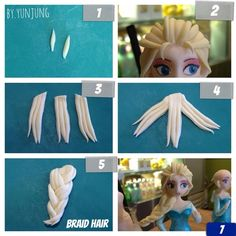 Elsa Fondant Figurine Tutorial how to braid her hair for a cake figurine. Bolo Frozen, Frozen Cake, Frozen Fondant, Cake Topper Tutorial, Fondant Tutorial, Disney Frozen Party, Frozen Birthday, Fondant Figures, Cake Decorating Techniques