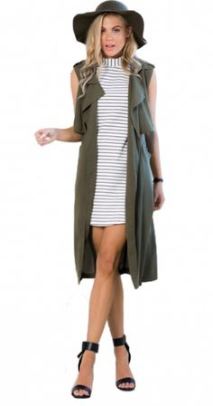 Long Cardigan Streetwear Loose Solid Vest - Army Green / L - Strickjacke Long Cardigan Coat, Green Cardigan, Poncho Sweater, Coats For Women, Jackets For Women, Clothes For Women, Army Jackets, Trench Coats, Sleeveless Trench Coat