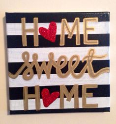 Home Sweet Home 8 x 8 red glitter canvas by KacisKreations on Etsy, $18.00