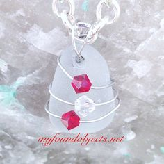 By the Sea, Sea Glass and Crystal Pendant, created by P. Quinn of My Found Objects #handcraftedjewelry