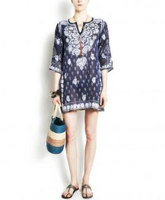 Navy Floral Chikan Tunic