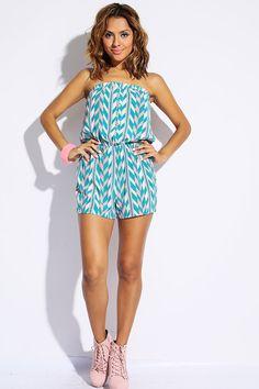 #1015store.com #fashion #style aqua/pink geometric print button front strapless romper jumpsuit-$10.00