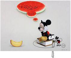 """Saatchi Art Artist Adrià Pina; Painting, """"Joc, Mickey, Forat. Reset 2012"""" #art"""