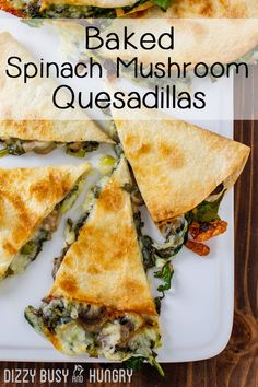 Baked Spinach Mushroom Quesadillas, Vegetarian Cheesy Quesadilla with mushrooms…. Baked Spinach Mushroom Quesadillas, Vegetarian Cheesy Quesadilla with mushrooms. Back to school lunches should be this good! Mushroom Quesadilla Recipe, Vegetarian Quesadilla, Spinach Quesadilla, Healthy Quesadilla Recipes, Baked Quesadilla, Mexican Quesadilla, Black Bean Quesadilla, Spinach Enchiladas, Vegetarian Recipes