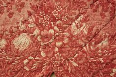 Antique French toile  ~ quilted textile LOVELY romantic design ~ www.textiletrunk.com