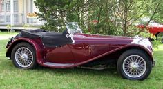 Side View with Red Maroon Paint Body from 1936 Jaguar SS 100 - Jaguar Car