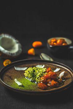 Chia-Matcha-Kokosmilchreis mit Kumquatkompott, vegan