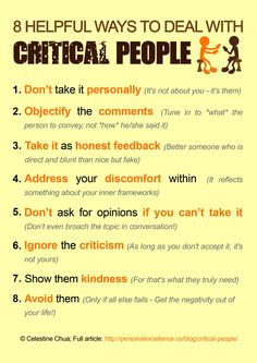How to Deal with Critical People Manifesto