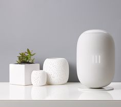 Colorful pill-shaped speakers designed with say it to play it voice command control, 360-degree audio output, and touch interface for anyone too shy to ask.