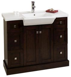 "American Imaginations 40"" x 18"" Walnut Modern Birch Wood-Veneer Vanity Set"