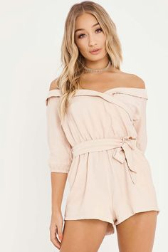 CHARLOTTE CROSBY STONE WRAP FRONT BARDOT PLAYSUIT cee5d0751