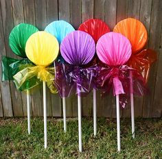 lollipops or do peppermint candy..then string lights between them for outdoors