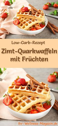 Low carb cinnamon quark waffles with fruits - healthy recipe for breakfast - Lo. - Low carb cinnamon quark waffles with fruits – healthy recipe for breakfast – Low-carb recipe f - Low Carb Desserts, Low Carb Recipes, Healthy Recipes, Fish Recipes, Breakfast Low Carb, Breakfast Recipes, Menu Dieta Paleo, Desayuno Paleo, Waffles