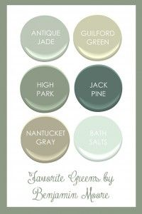 Favorite Benjamin Moore Greens. Benjamin Moore Antique Jade, Benjamin Moore Guilford Green, Benjamin Moore High Park, Benjamin Moore Jack Pine, Benjamin Moore Nantucket Gray, Benjamin Moore Bath Salts.  Kimberly Grigg from Get Your Southern On.