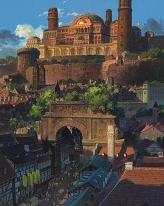 Tales From Eathsea. Directed by Gorō Miyazaki and produced by Studio Ghibli. Tales From Earthsea[DVD] Hayao Miyazaki, Fantasy City, Fantasy Places, Tales From Earthsea, Bg Design, Arte Cyberpunk, Ghibli Movies, Animation Background, Environment Design