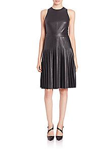 Rebecca Taylor - Sleeveless Faux Leather Dress