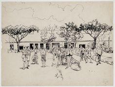 Aankomst van nieuwelingen in het kamp L.O.G. Bandoeng