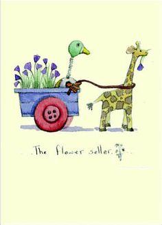 The flower seller Fran Evans Anita Jeram, Most Popular Artists, Giraffe Art, Binky, Autumn Art, Watercolor Animals, Children's Book Illustration, Contemporary Artists, Animals Beautiful