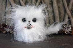 Kitty Love white faux fur kitten plush doll toy cat by woolcrazy #handmade #etsy #kitten