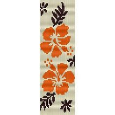 PACIFIC HIBISCUS FLORAL  - LOOM beading pattern for cuff bracelet SALE