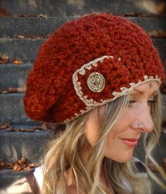 JUMBO SLOUCHY Beanie hat in Fall Red Crochet slouch hat by GPyoga