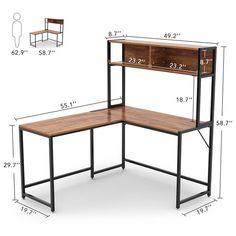 Bourdeau L-Shape Computer Desk with Hutch Williston Forge Bourdeau L-Form Computertisch mit Stall Computer Desk With Hutch, Desk Hutch, Desk Shelves, Desk Storage, Computer Desks, Corner Hutch, Cabinet Storage, Office Storage, Craft Storage