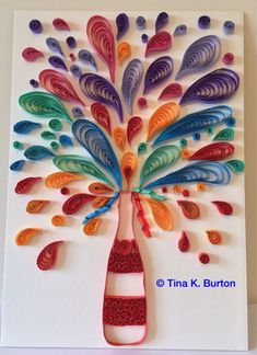 Kind of want to do this without the bottle and in a different way (not quilled) because I love the exuberance - Quilled champagne explosion by: Tina K. Arte Quilling, Quilling Paper Craft, Quilling Patterns, Quilling Designs, Diy Paper, Paper Art, Paper Crafts, Origami, Craft Projects