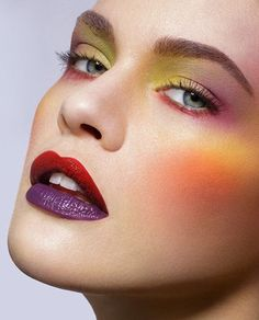 Colorful make up with two colors lips.