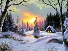 DIY Diamond Painting snow House Square Rhinestone Drill Cross Stitch Beautiful Landscape Home Decor Diamond Embroidery Kits Winter Scenery, Winter Trees, Winter Art, Winter Storm, Sunset Landscape, Winter Landscape, House Landscape, Winter Drawings, Wooded Landscaping
