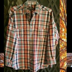 Shirt, Willis  & Geiger Shirt, WILLIS & Geiger, button down, blue,red,yellow and white plaid. 100% cotton Two front button down pockets. Willis & Geiger  Tops Button Down Shirts