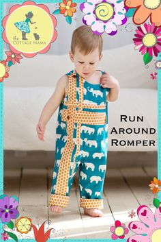 Boys Romper Sewing PRINTED PATTERN: Run Around Romper for Boys and Girls - Original Printed Sewing Pattern - Size 6 Month - 6 Years