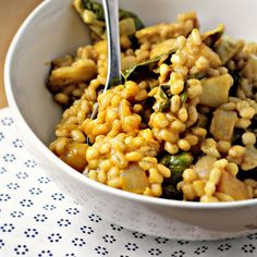 barley risotoo with roasted brussels sprouts, apples, and champagne honey mustard (vegan)