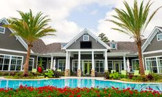 House of Turquoise: Olive Interiors beautiful with the red geraniums and blue pool water. LOVE IT