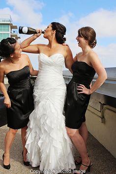 LOUD LOVE PHOTOGRAPHY #wedding #WeddingDay #dress #hair #strapless #bride #loudlovephotography #sandiego #losangeles #socal #bridal #updo #whitewedding #Smile #bridesmaid #marriage #theknot #blackandwhite #blackdress #cheers #champagne
