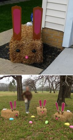 Easter Bunnies Made Out of Hay. (The Ears Are Old Ceiling Fan Blades)