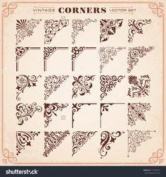 Vintage Design Elements Corners Vector - 171876314 : Shutterstock