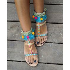 RiRiPoM, Leather sandals, Boho Sandals, Gladiator Sandals, Pom Pom... (€149) via Polyvore featuring shoes, sandals, gladiator sandals, leather fringe sandals, fringe sandals, beaded gladiator sandals and leather sandals